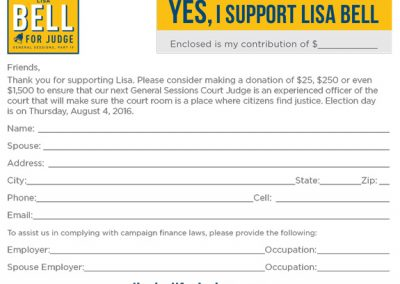 Lisa Bell for Judge - Contribution Card