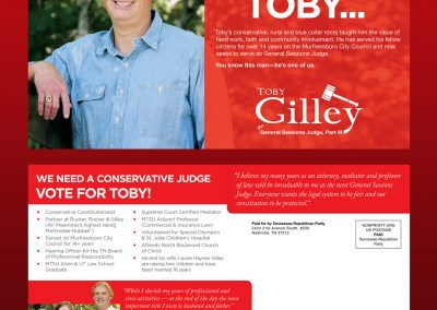 Toby Gilley Direct Mail Front and Back